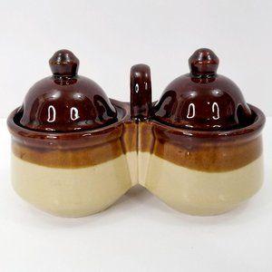 Vintage Condiment Serving Set Stoneware Brown Lids